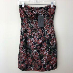 Zara jacquard floral bow front strapless dress M